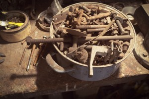 Old Metal Screws. Every garage has them.