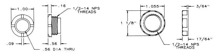 2 Pc Nylon Threaded Bushing Dimensions