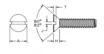 82 Deg Flat Machine Screws Dimensions