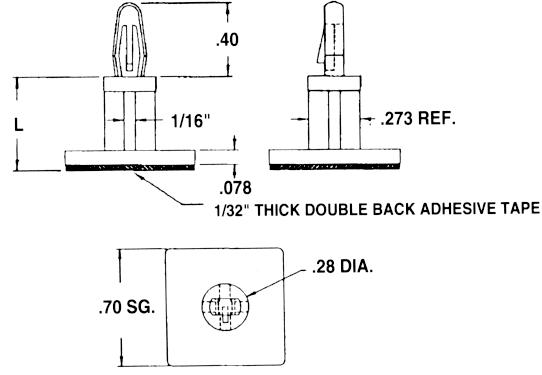 Locking PCB Supp Adh Base Dimensions