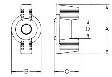Metric Deco Wing Nuts Dimensions