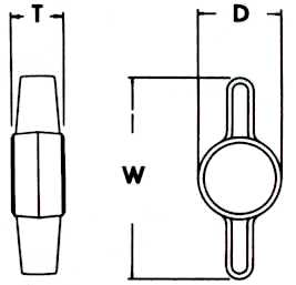 Wing Head Knobs Dimensions