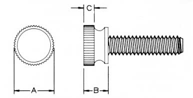 Knurled Head Thumb Screws Dimensions