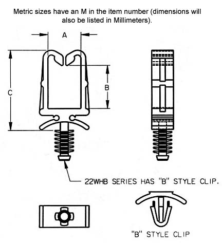 Wire-Cable Holders Dimensions